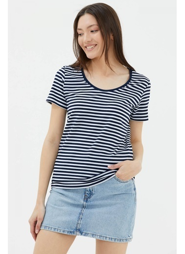 Sementa Geniş Yaka Basic Çizgili Tshirt - Lacivert Lacivert